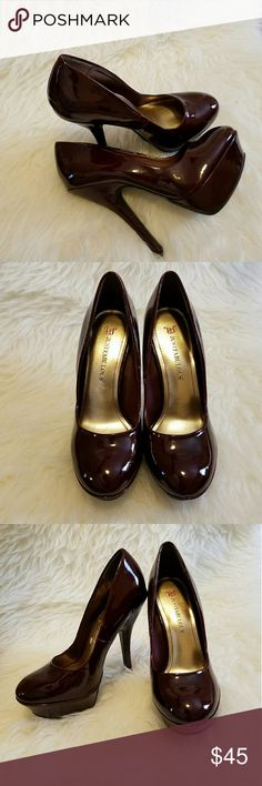 "Just Fab Bordeaux Wine Platform Heels Just Fab Bordeaux Wine Platform Heels  5"" heel, 1.25"" platform JustFab Shoes Heels"