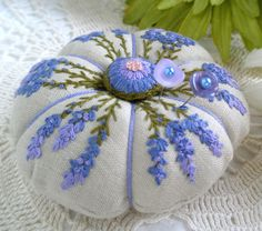 Lavender and Lined Pincushion