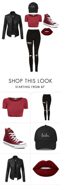 """babe"" by jaiden-ortiz on Polyvore featuring Topshop, Converse, LE3NO and Lime Crime"