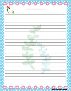 ✿ ❀ ❁✿ ❀ ❁✿ ❀ ❁✿ ❀ ❁ Stationary Printable, Printable Lined Paper, Disney Little Mermaids, Ariel The Little Mermaid, Disney Printables, Free Printables, Cute Journals, Disney Scrapbook, Scrapbooking