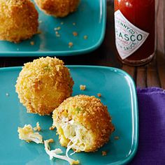 Sunset reader Herbert Roebuck of Clovis, California, suggests chilling the formed crab balls for an hour or up to 1 day, if you have time, to make them easier to roll in panko. They're delicious served with tartar sauce in addition to the hot sauce.