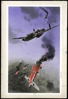 """A British bomber under attack by a German plane. """"British Manchester bomber defends itself"""" by W.Krogman, 1939-1945"""