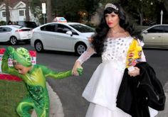 Gwen Stefani was every bit the princess as she took her sons out for fright night festivities in Los Angeles on Oct. 31, 2013.