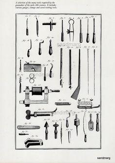 Chart of Gunmaker Tools Gauges Clamps Diderots