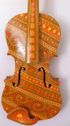 Orange Pattern Violin by BeesCuriosityShoppe on Etsy, $295.00