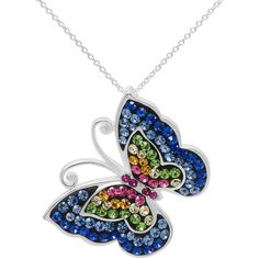 Multicolor Crystal Sterling Silver Butterfly Pendant Necklace ($84) ❤ liked on Polyvore featuring jewelry, necklaces, lullabies, rainbow, round pendant necklace, long crystal necklace, sterling silver pendant necklace, butterfly pendant and crystal pendant necklace