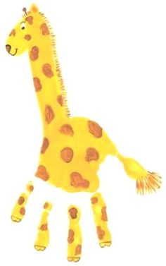 Handprint Giraffe found on Down in the Dots. Photos of this fun hand & foot painting kid activity from playtimebreak.