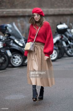 Xenia Tchoumitcheva after the Blumarine Fashion Show during the Milan Fashion Week Fall/Winter 2018/19 on February 23, 2018 in Milan, Italy.
