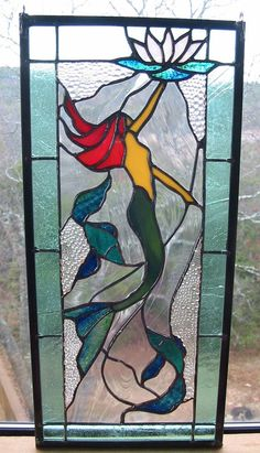 Stained Glass Panel Mermaid by HillCountryGlass on Etsy, $185.00