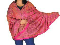 "Magenta Coral Paisley Wool Shawl - Trendy Evening Dress Wrap Afghan 80"""