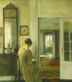 Reading – The Painter's Wife.Carl Vilhelm Holsøe (Danish, 1863-1935).Oil on canvas.MacConnal-Mason Gallery.