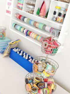 Washi tape storage ideas: wire basket and rowel rods