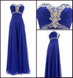 Royal Blue Long Crystals Chiffon Prom Dress Empire by dressseller, $96.00 SO PRETTY wish I could get it in Emerald
