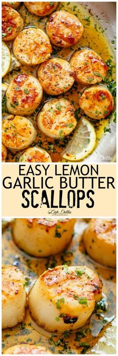 Lemon Garlic Butter Scallops on your table in less than 10 minutes, coated in a deliciously silky lemon garlic butter sauce! Cheaper than going out to a restaurant and just as good as chef made scallops! | cafedelites.com #seafood #scallops #easyrecipes #garlicbutter #lemon