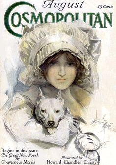 1913 cover of Cosmopolitan by Harrison Fisher, American Illustrator Cosmopolitan Magazine, Vogue Magazine, Magazine Art, Magazine Covers, Old Magazines, Vintage Magazines, Vintage Ephemera, Vintage Cards, Divas