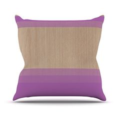 KESS InHouse BG2011DOP03 18 x 18-Inch 'Brittany Guarino Art Purple Lavender Wood' Outdoor Throw Cushion - Multi-Colour