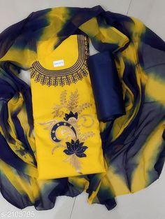Janhvi Kapoor Semi Cotton Dress Material With Prints Dupatta from Pandari Fabrics Peacock Embroidery Designs, Kurti Embroidery Design, Embroidery Fashion, Stylish Womens Suits, Womens Dress Suits, Kurta Designs Women, Blouse Designs, Churidhar Designs, Cotton Saree Designs