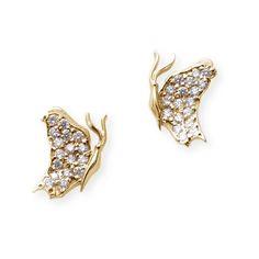 Women's Diamond Earring by J.Herwitt Small Butterfly Earrings side... ($2,325) ❤ liked on Polyvore featuring jewelry, earrings, gold, diamond jewelry, drusy earrings, gold druzy earrings, yellow gold diamond earrings and monarch butterfly earrings
