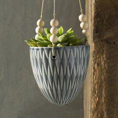 Ashok Round Ceramic Hanging Planter Color: Gray