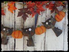 Primitive Folk Art Black Cat Pumpkin by CountryLifeisBest on Etsy