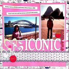 Scrapbook Layout 2 Photos Single Page. Hot Pink, White & Blue. Iconic Sydney Harbour Bridge & Opera House. Hearts & Whales.