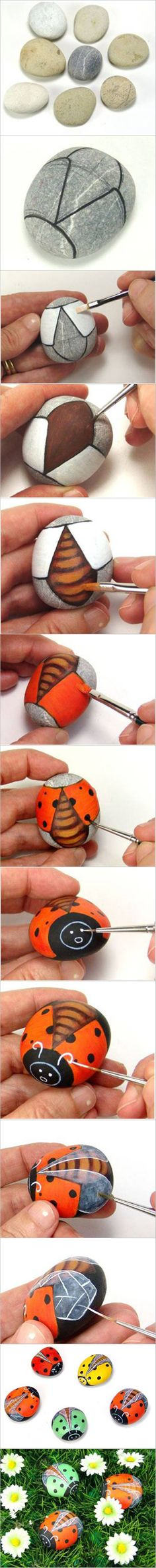 How to DIY Painted Pebble Ladybugs #craft #pebble #painting #ladybug