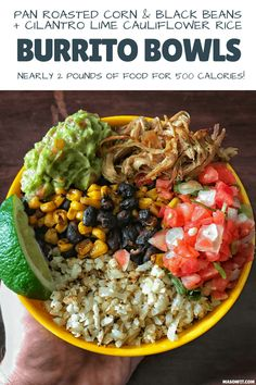 Super simple recipes for pan roasted corn and black beans as well as cilantro lime cauliflower rice to pair with crispy carnitas for delicious high protein, low calorie burrito bowls. Mexican Food Recipes, Whole Food Recipes, Vegetarian Recipes, Dinner Recipes, Simple Recipes, Healthy Recipes, Corn Recipes, Dinner Ideas, Mexican Dinners