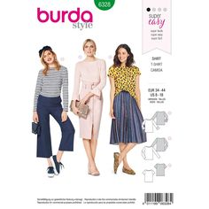 Burda Style Pattern 6328 Misses' Top with Boat Neckline T Shirt Sewing Pattern, Burda Sewing Patterns, Top Pattern, Easy Style, Maternity Patterns, Hand Sewing Projects, Serger Projects, Dressmaking Fabric, Vogue