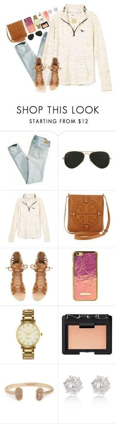"""""""let the good times rollllllll"""" by sydneylawsonn ❤ liked on Polyvore featuring American Eagle Outfitters, Ray-Ban, Tory Burch, Zara, Kate Spade, NARS Cosmetics, Kendra Scott, River Island, women's clothing and women's fashion by kenya"""
