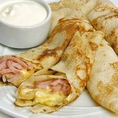 Ham and Cheese Crepes Baby Food Recipes, Mexican Food Recipes, Cooking Recipes, Healthy Recipes, Kids Meals, Easy Meals, Food Porn, Pancakes And Waffles, Breakfast For Kids