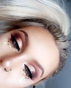 Rose gold and glitter eye makeup @bybrookelle