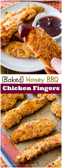 These extra crispy chicken fingers marinated in honey and BBQ sauce. Baked, not fried! Easy recipe at sallysbakingaddiction.com