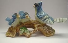 Blue Jay Birds Porcelain Hand Painted Figurine