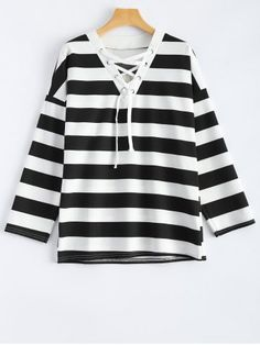 GET $50 NOW | Join RoseGal: Get YOUR $50 NOW!http://www.rosegal.com/t-shirts/long-sleeve-striped-lace-up-830969.html?seid=7304043rg830969