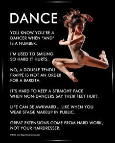 """Dancer Jump 8x10 Poster Print. """"You know you're a dancer when """"and"""" is a number,"""" is just one of the inspirational dance quotes on this poster."""