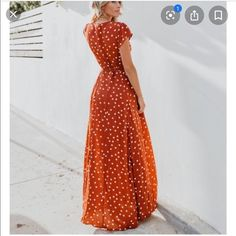 Shop Women's Vici size M Maxi at a discounted price at Poshmark. The green photo is just to show the dress but it is a rust orange color. Rust Orange, Orange Color, Burnt Orange Bridesmaid Dresses, Polka Dot Maxi Dresses, Green Photo, Polka Dots, Fashion, Moda, Fashion Styles