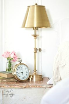 Brass candlestick style table lamp with brass shade diy decor bedroom design light@lampsplus