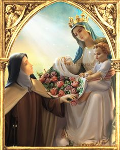 Virgin Mary with St. Therese Catholic Art Child by ThreeArchangels