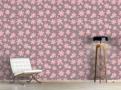 Design #Tapete Rosis Blumen Regen