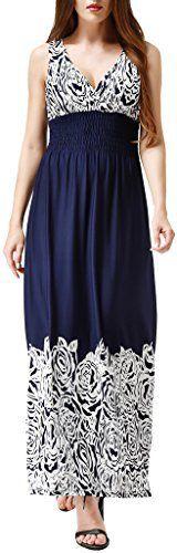 Wantdo Women's Plus Size Boho Maxi Dresses with Printed