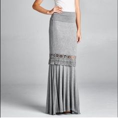 Crochet trim Rollover Waist Maxi Skirt Best Selling Maxi skirt in size medium can be worn by a large size due to style and fabric . Spandex rayon blend very soft . Nwot . Flattering and adjustable waistline. Great for dressing up or wearing casually . Pastel pleated crochet Vivacouture Skirts Maxi