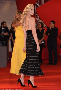 A fashionable arrival: Strolling onto the red carpet at the 73rd Venice Film Festival, the Game of Thrones star took the plunge and showed a serious amount of skin in a monochrome dress
