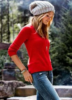 I'm loving these slouchy beanies! beanie, red top, jeans