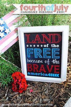 Free Fourth of July Chalkboard Printable #freeprintable #fourthofjuly
