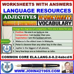 A resource that contains 7 worksheets with answers to Adjectives: Degrees of Comparison. It includes worksheets on identifying, providing, and correct usage of Positives, Comparitives, and Superlatives in writing. Teachers can use these to enhance the vocabulary and language skills of the learners in their