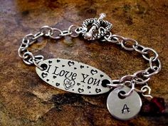 I Love You Bracelet Personalized Jewelry Hand by CharmAccents, $23.00