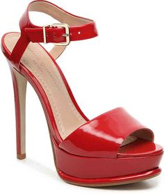 Mercanti Fiorentini Women's Leather Sandal -Red Patent Leather