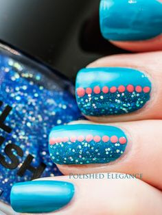 blue and orange with glitter