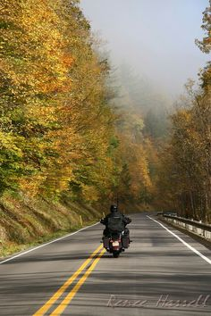IMG#5587-Taken during trip to Pennsylvania Oct 10, 2010. We wanted to experience the leaves changing...by motorcycle.  This was taken at 40 miles per hour...as a passenger from the back of our motorcycle, of course!