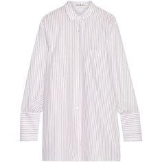 Acne Studios Bai oversized striped cotton shirt (€355) ❤ liked on Polyvore featuring tops, white, striped shirt, multicolor striped shirt, stripe shirt, stripe top and striped sleeve shirt